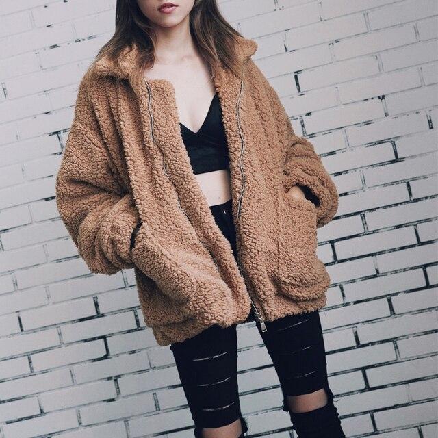 Automne hiver fausse fourrure manteau femmes 2020 décontracté chaud doux fermeture éclair fourrure veste en peluche pardessus poche grande taille Teddy manteau femme XXXL 2