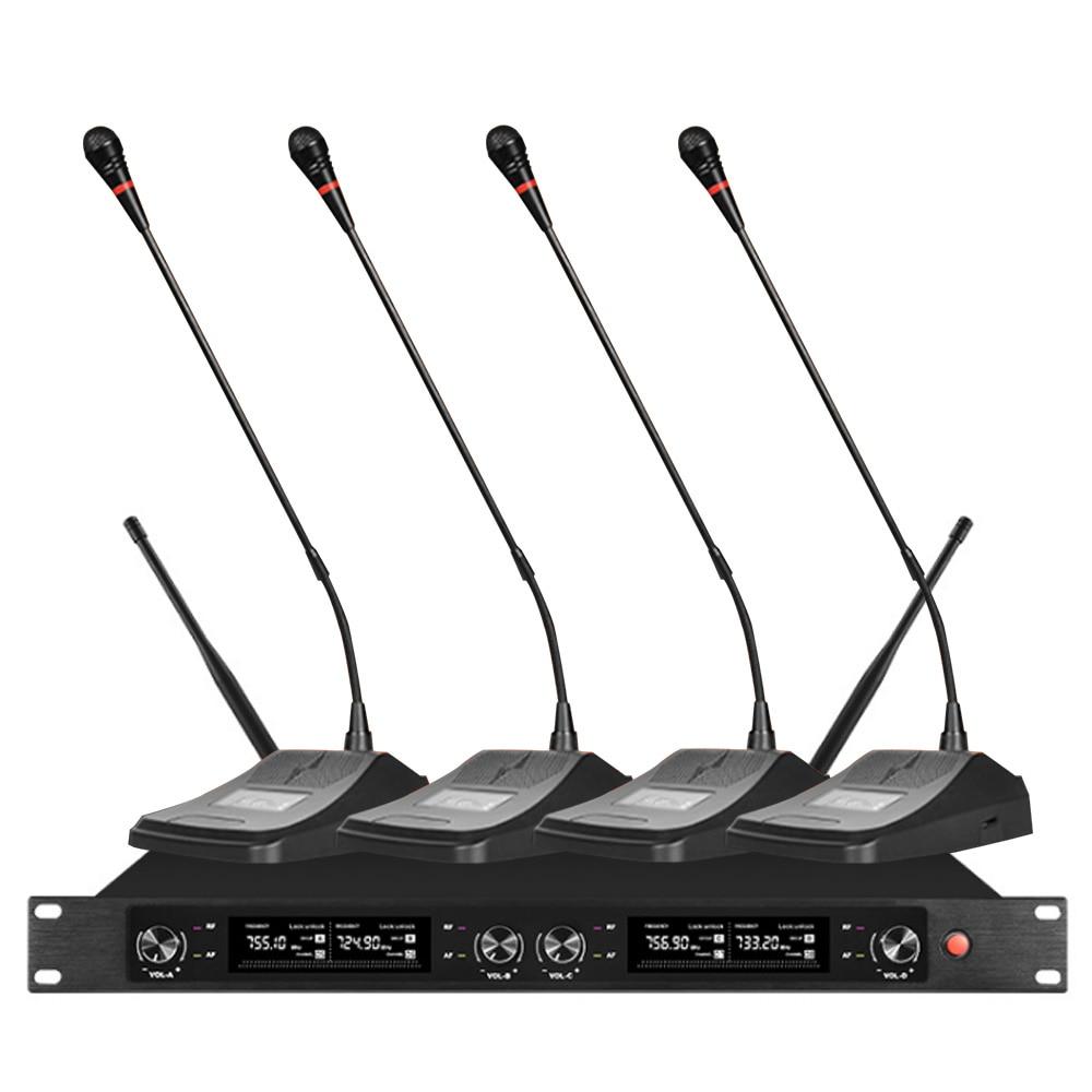 ORBAN professionnel système de Microphone sans fil UHF4 canal 4 conférence condensateur Microphone Lecture école école Microphone