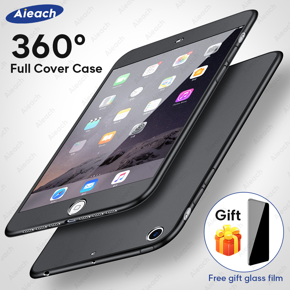 Case For iPad Air 1 2 3 mini 4 5 For iPad Pro 10.5 Silicone 360 Full Body Cover + Free Glass For iPad 2017 2018 9.7 5th 6th Case image