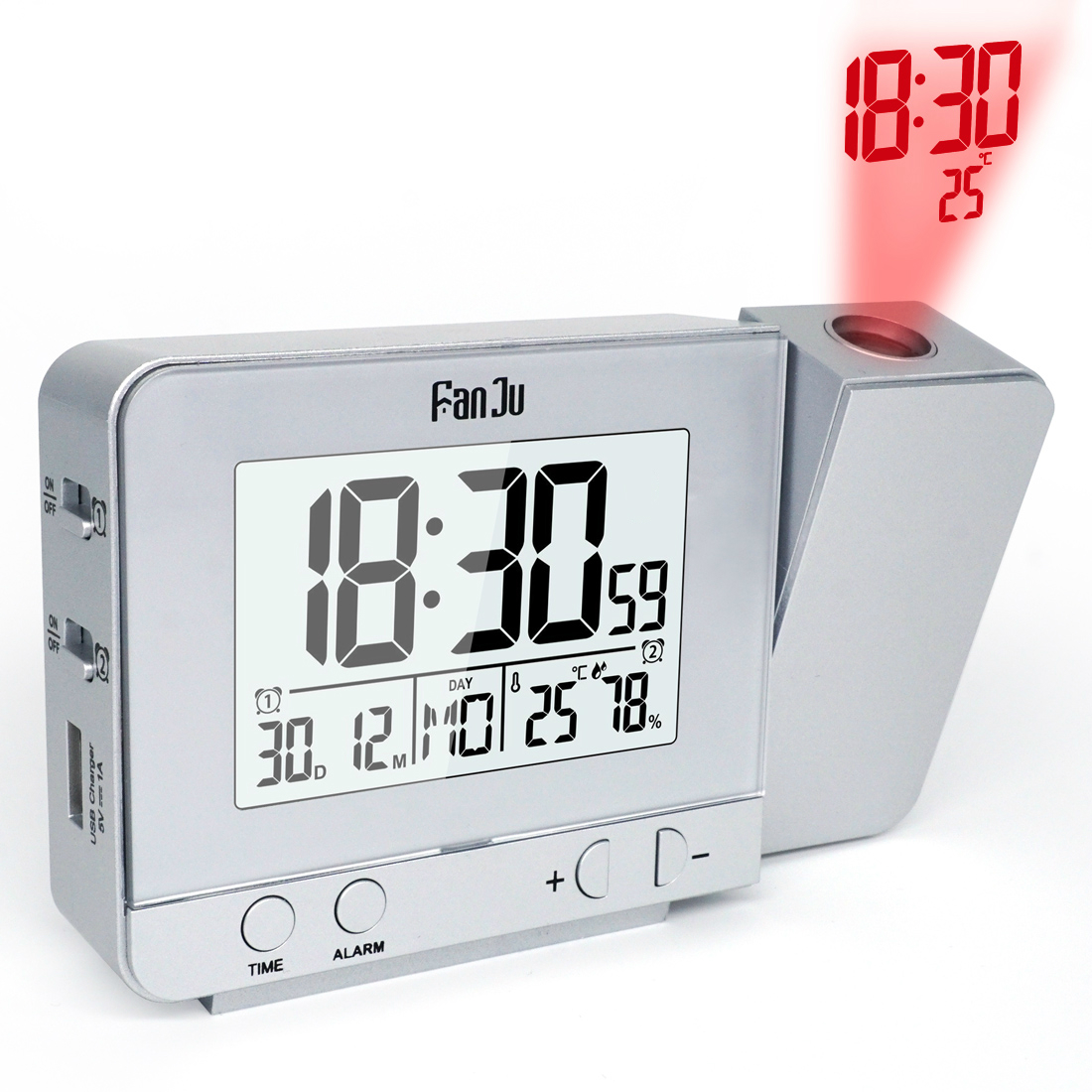 FanJu Digital Snooze Alarm Clock Projection Function Backlight Projector Desk Table FJ3531 Hot
