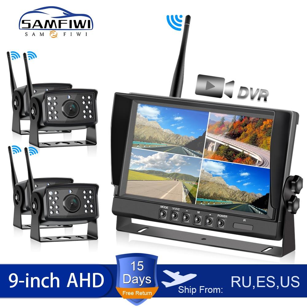 AHD 9 Inch Wireless Car Monitor 4ch Quad DVR Dash Monitors Display Video Digital Recorder Truck Wifi Backup Vehicle Camera