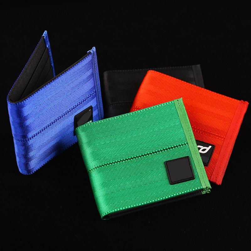 JDM Racing TAK Drift Seat Belt Nylon Bilfold Men's Wallet Car Leather Short Wallet Purse Key Case