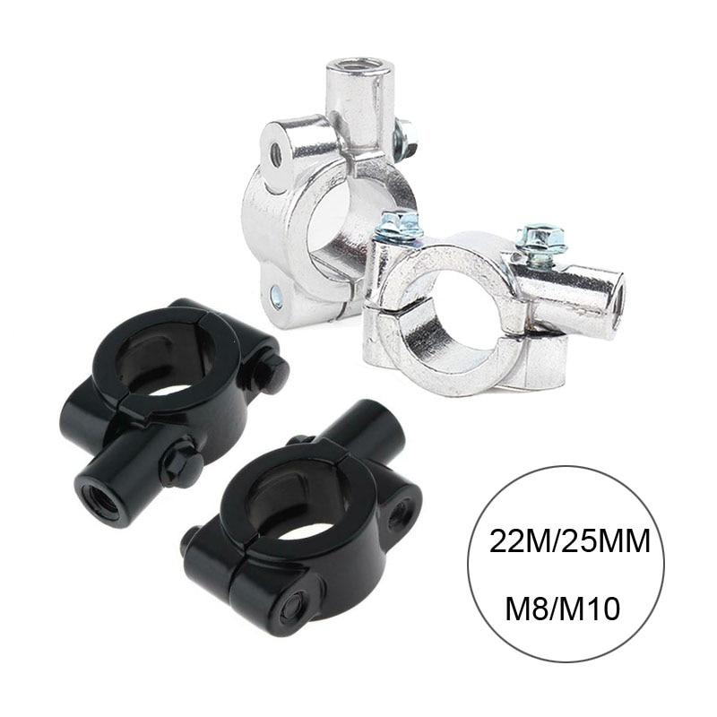"""Paar 7/8 """"Zoll 22mm 25mm Lenker 10mm 8mm Gewinde Motorrad Spiegel Clamp Rückansicht spiegel Halter Adapter Silber Schwarz"""