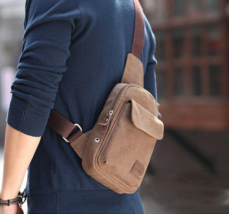 Men's Small Chest Sling Bag Travel Hiking Cross Body Messenger Shoulder Solid Canvas Waist Bag