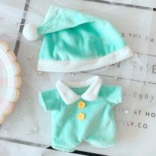 Azul e rosa pijamas onesie nightcap 20cm terno 15cm boneca vestido exo ervilha boneca chapéu roupas boneca acessórios