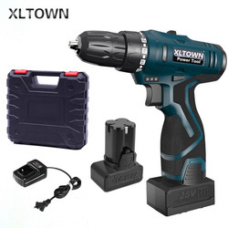 Xltown 25v Cordless Electric Drill MultiAction Lithium Battery Rechargeable Electric Screwdriver with 2 battery Home Power Tool