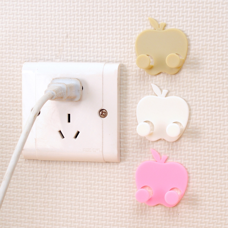 3PCS Home Office Wall Adhesive Power Plug Socket Holder Hanger Sticky Hook Shaving Razor Key Kitchen Rack Random Color