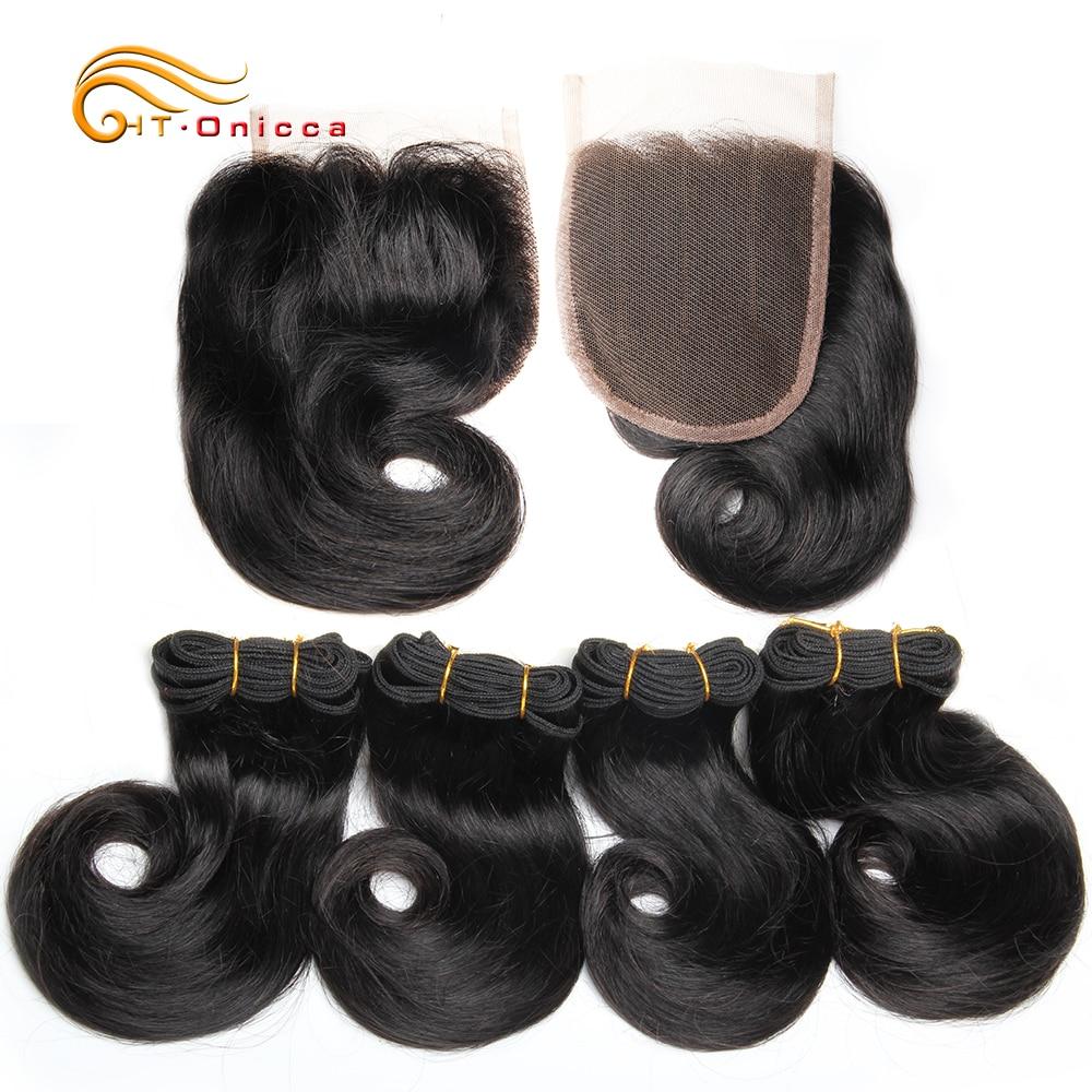 Double Drawn Funmi Hair Bundles With Closure Curly 8 Inch 100%  weave   Hair  1B 27 30 Burgundy 1