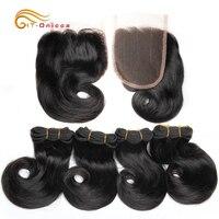 Двойные нарисованные волосы Funmi, пучки с закрытием, кудрявые, 8 дюймов, 100% человеческие волосы, плетение, бразильские волосы Remy, наращивание в...