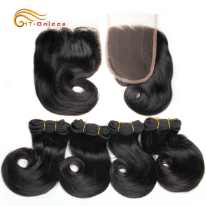 Double Drawn Funmi Hair Bundles With Closure Curly 8 Inch 100% Human Hair weave Brazilian Remy Hair Extension 1B 27 30 Burgundy(China)