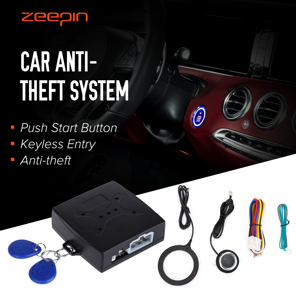 Auto Car Alarm Car Engine Push Start Button RFID Lock Ignition Starter Keyless Entry Start Stop Immobilizer Anti-theft System image