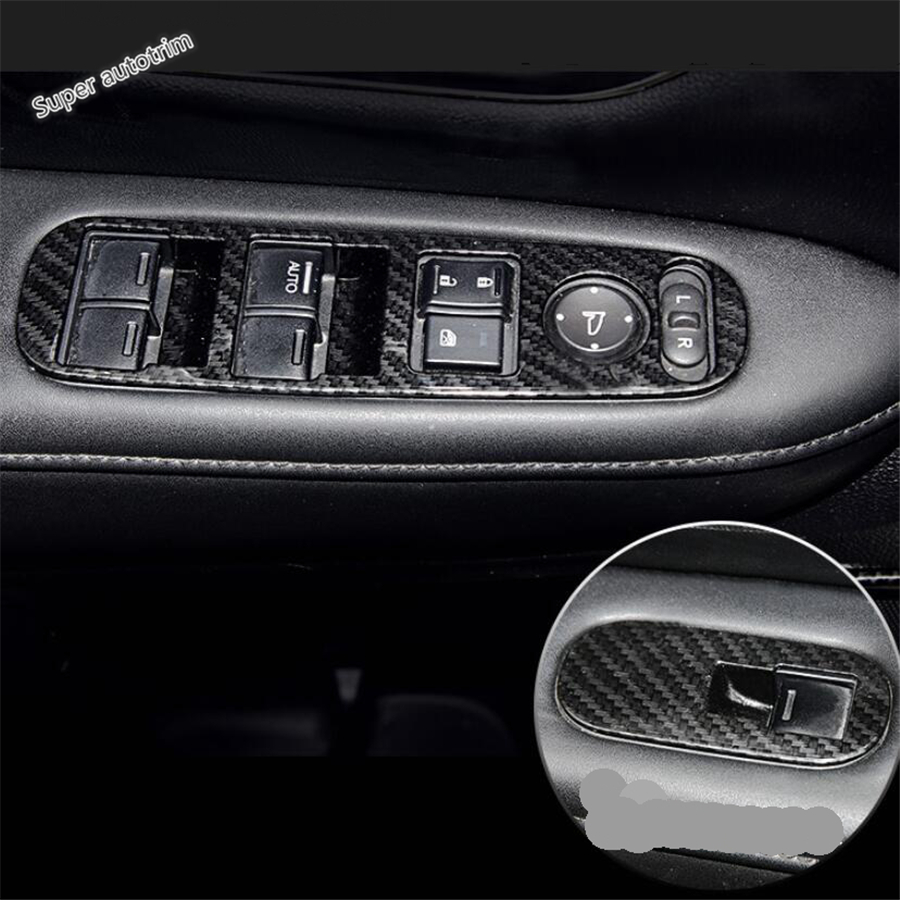 Lapetus Inner Door Armrest Window Lift Button Cover Trim For Honda Vezel HR-V 2014 - 2019 Accessories Interior ABS Carbon Fiber