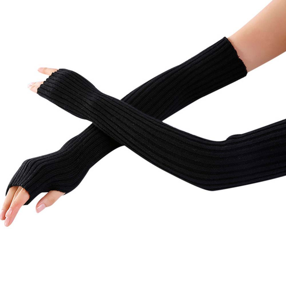 Stretch Knit Mittens Women Long Gloves For Winter Wrist Arm Warmer Mangas Solid Touch Screen Long Fingerless Gloves Guantes