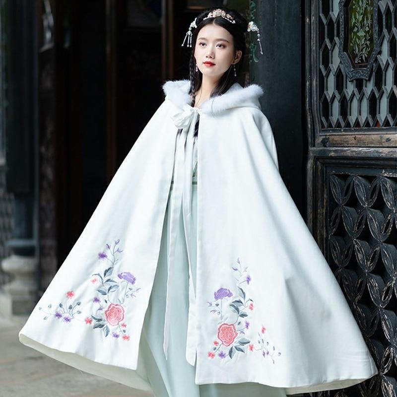 Women Hanfu Cloak Chinese Traditional Female Winter Costume Blue White Hanfu Coat Ancient Embroidery Elegant Long Robe DQL2182