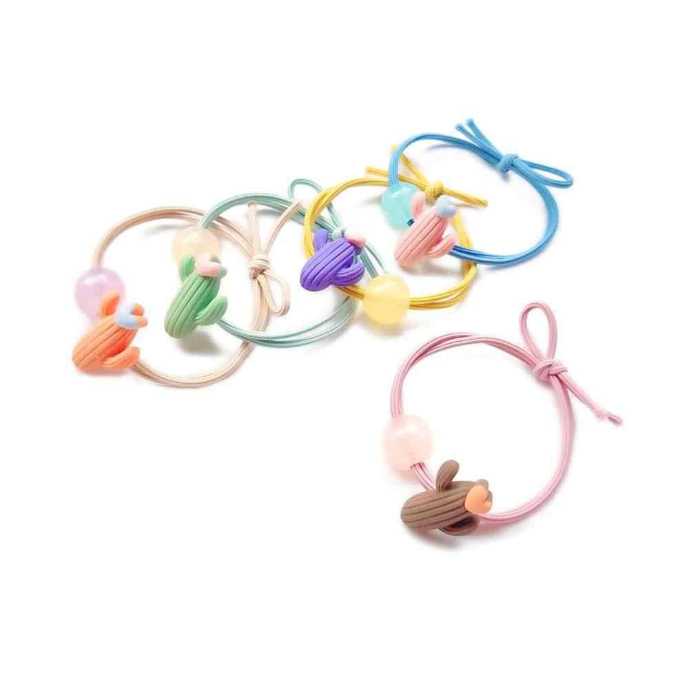 Kadınlar elastik saç bantları kaktüs kalp aşk lastik bantlar kızlar için çocuk çocuk yüksek elastikiyet 5 renkler