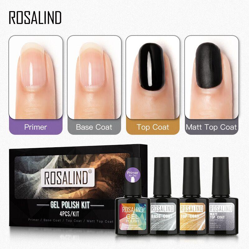 Гель лак для ногтей ROSALIND, Матовый верхний слой, набор основы для маникюра, УФ гель для дизайна ногтей, гибридный набор 10 мл/4 шт. Комплекты и наборы      АлиЭкспресс