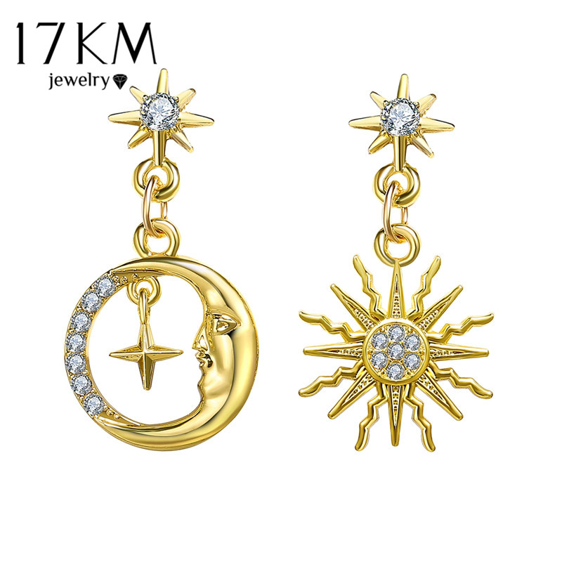17KM Vintage Sun Star Earrings For Women Girls Big Geometric Oversize Gold Earring 2020 New Hollow Brincos Female Fashion Jewely