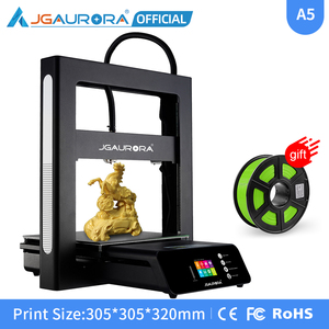 JGAURORA A5S FDM pulpit drukarki 3D łatwy montaż 32Bit płyty głównej duża budowa volum 305*305*320mm wznowić drukowanie wyłączanie zasilania