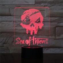 Mar de ladrões 3d led night light 7 mudança de cor lâmpada quarto decoração figura ação brinquedo para o presente natal aniversário