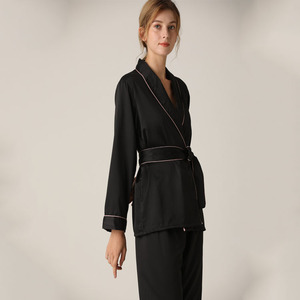 Image 4 - Lisacmvpnel Silk Long Sleeve Trousers Lapel High Archives Pajamas With Belt Solid Color Nightwear