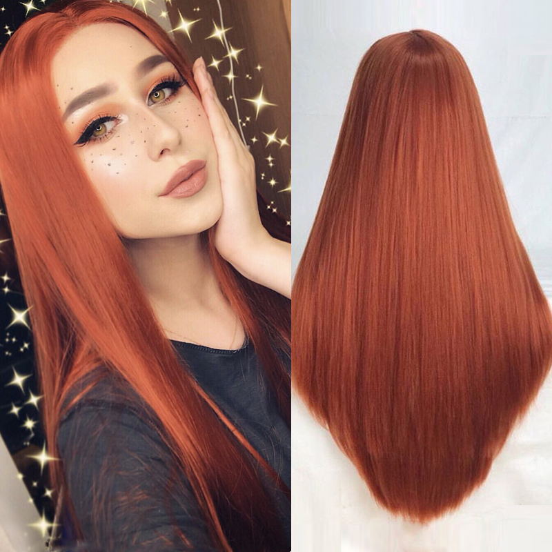 Charisma High Temperature Hair Copper Red Synthetic Lace Front Wig 26 Inches Straight Hair Synthetic Wigs Middle Part Wig(China)