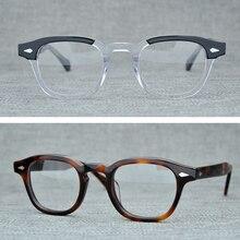 ラウンドハンドメイドアセテートフレーム女性ジョニー · デップは、男性ブランドデザイナーコンピュータゴーグル光学眼鏡フレームデミ近視
