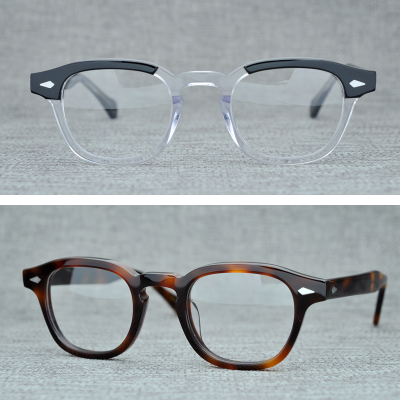 Round Handmade Acetate Frame Women Johnny Depp Glasses Men Brand Designer Computer Goggles Optical Spectacle frame Demi Myopia|Men