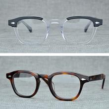 Yuvarlak el yapımı asetat çerçeve kadın Johnny Depp gözlükleri erkekler marka tasarımcısı bilgisayar gözlük optik gözlük çerçevesi Demi miyopi