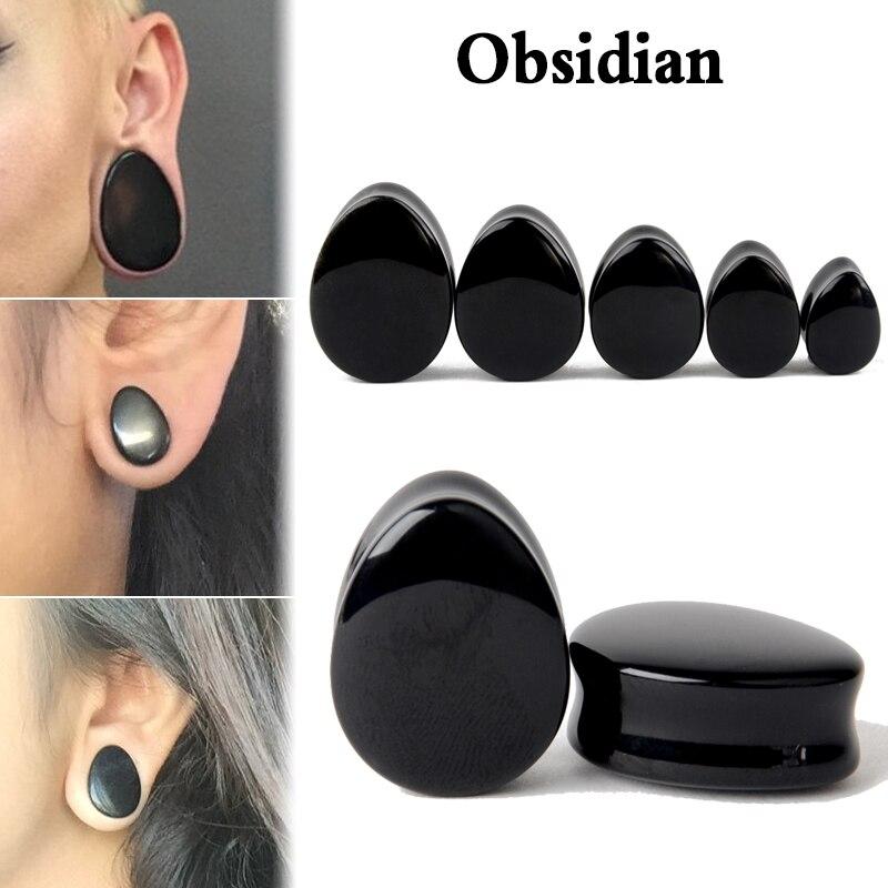 1 Paar Tropfen Naturstein Flesh Tunnel Ohr Plug Ear Piercing Expander Schmuck