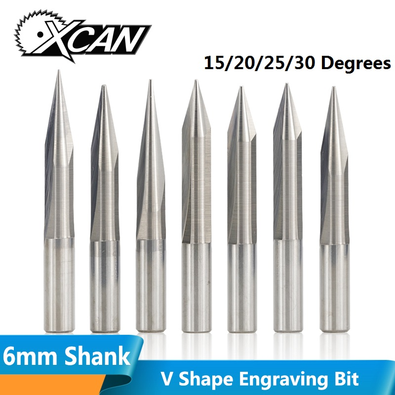 XCAN 1pc 6mm Shank 15/20/25/30 Degrees V Shape End Mill Tip 0.3-1.0mm 2 Flute CNC Carving Bit Wood PVC Acrylic Engraving Bit