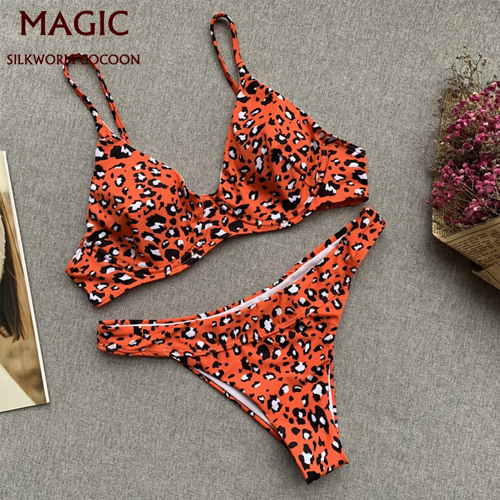New Sexy Orange Print Swimsuit String Thong High Waist Bikini Set Push Up Swimwear Women Ruffle Brazilian Bikini Beach Wear