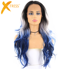 Blue Platinum Ombre Color Synthetic Hair Wigs Free/Middle Part