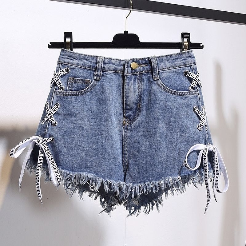 200 Korean-style New Style Large Size Fat Mm Flash Bandage Cloth High-waisted Denim Shorts Women's Loose-Fit Slimming Wide-Leg S