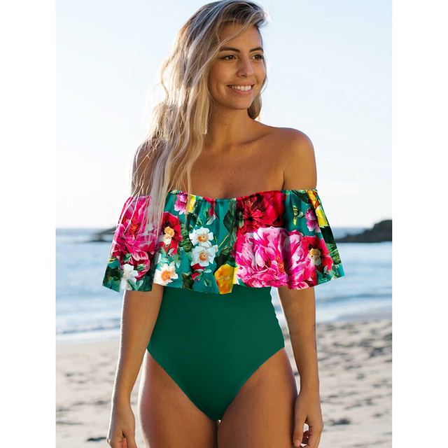 2021 New Sexy Off The Shoulder Solid Swimwear Women One Piece Swimsuit Female Bathing Suit Ruffle Monokini Swim Wear XL 6