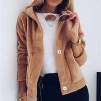 Fashion Women Fleece Autumn Winter Top Long Sleeve Hooded Coats and Jacket Elegant ladies Outwear Loose veste femme Streetwear