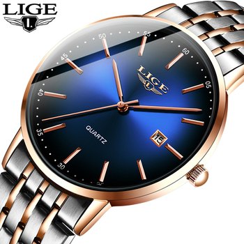 цены LIGE New Mens Watches Top Brand Luxury Fashion Mesh Belt Watch Men Waterproof Wrist Watch Analog Quartz Clock erkek kol saati