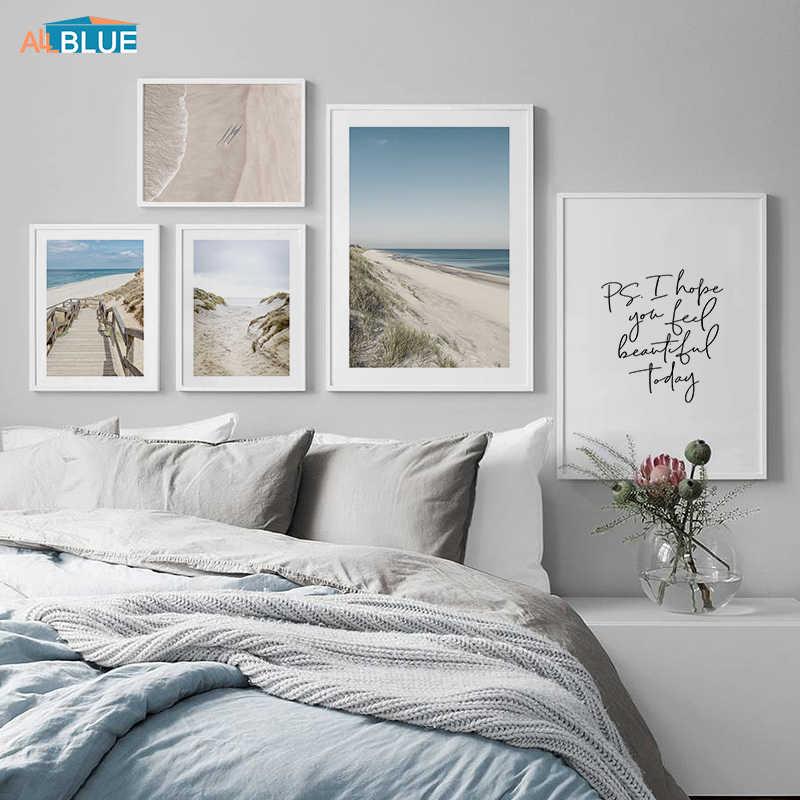 오션 웨이브 비치 자연 풍경 포스터 북유럽 벽 아트 캔버스 회화 견적 포스터 및 인쇄 바다 장식 사진