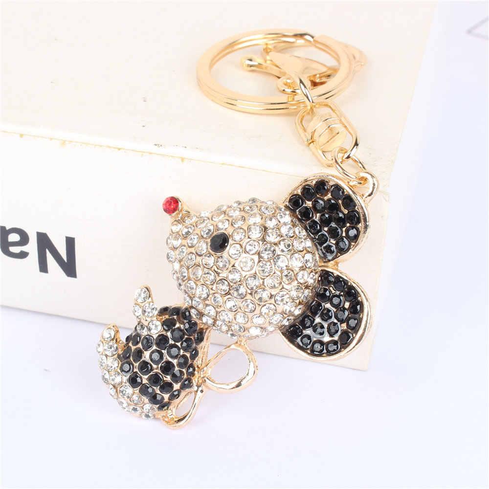 น่ารักสีดำสีชมพูหนูเมาส์ Key Chain Keyring จี้คริสตัล Rhinestone Charm สำหรับกระเป๋าถือกระเป๋าถือกระเป๋า Carkey ของขวัญ