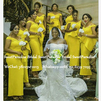 Gold Yellow Mermaid Bridesmaid Dresses Long Off Shoulder Ankle Length African Women Wedding Party Dress Formal Gown