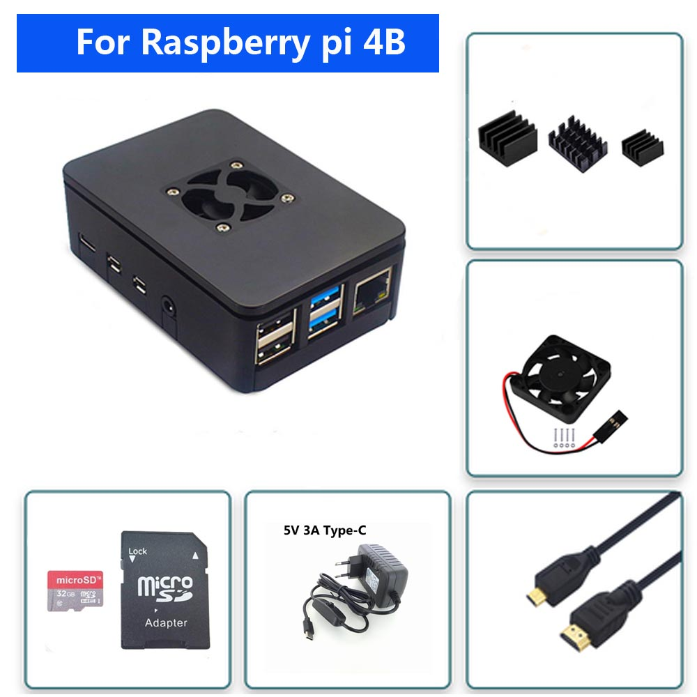 Raspberry PI 4 Model B ABS Case Cover With Cooling Fan +32GB SD Card+5V 3A Power+Heatsink+HDMI For Raspberry Pi 4B