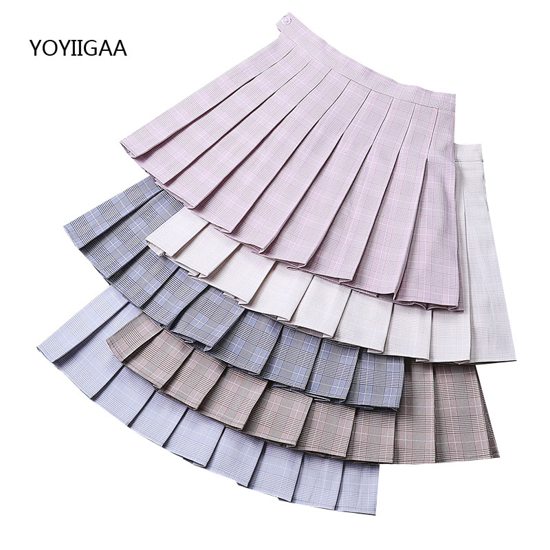Women Pleated Skirt Summer Casual A-Line Ladies Plaid Skirt High Waist Ladies School Girl Pleated Skirts Sweet Mini Plaid Skirts