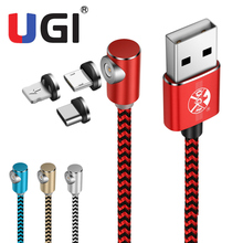 UGI 2.4A Magnetic Charger Cable IOS Type-C Micro USB Fast Charging Nylon Braided Cord For iPhone Samsung S8 S9 S10 S20 hdsail led light cable fast charging micro usb type c cable led wire cord type c charger for iphone 7 8 xs max samsung s10 s9 s8