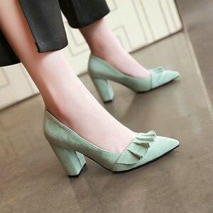 Image 5 - Zawsthia 夏秋春の女性靴ブロックハイヒールクラシックオフィスポンプ黄色ミントグリーン女性ハイヒール作業靴