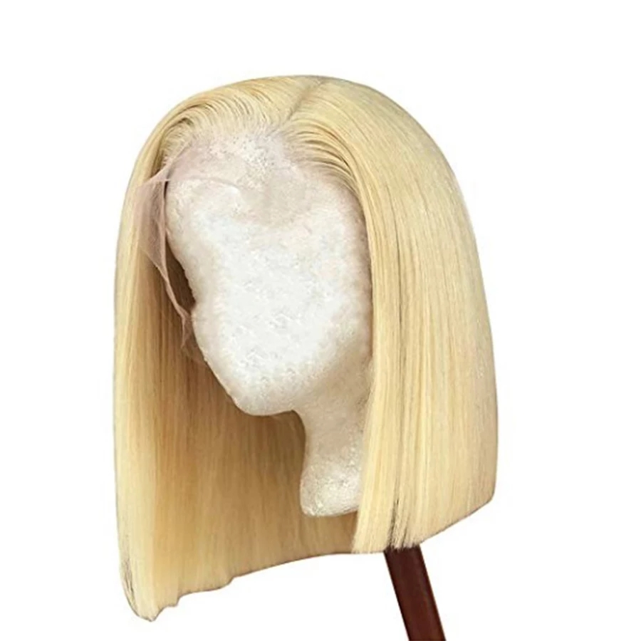 13*4 Lace Front Human Hair Wigs #613 Blonde Short 613 Bob Brazilian Remy Straight Lace Front Wigs Pre Plucked Middle Part Guanyuhair