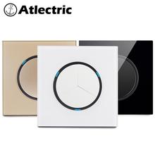 Atlectric 1/2/3/4 Gang 1/2Way Light Switch Button Light Blocker Tempered Glass Panel Wall Switch Lamp Light LED Indicator