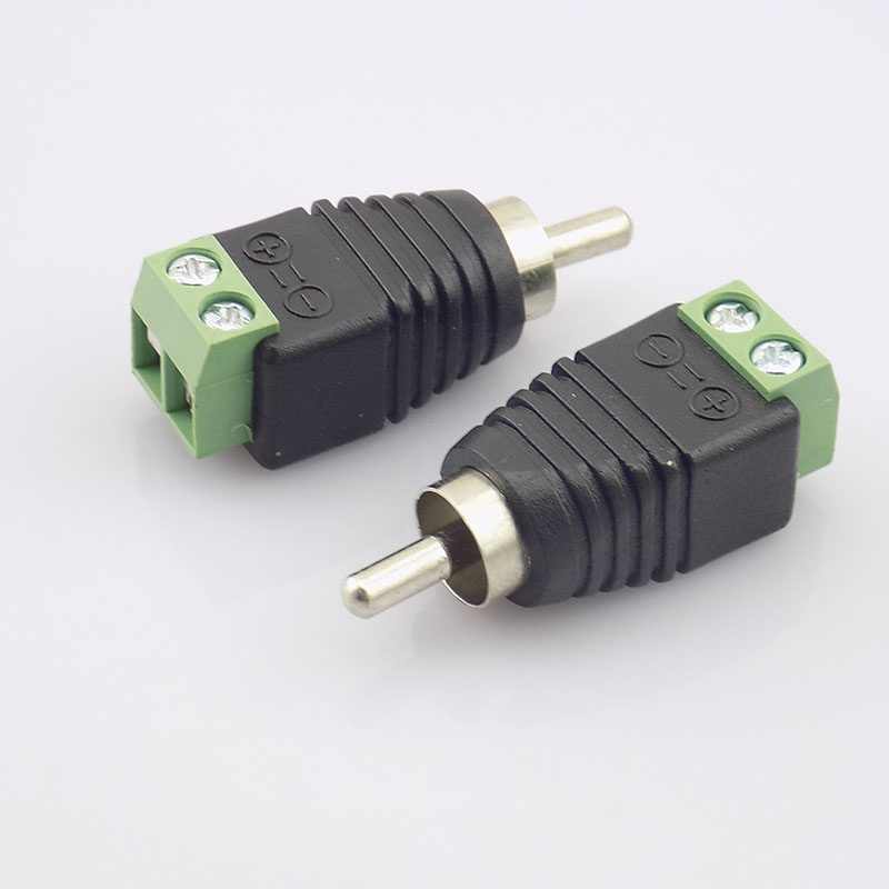 10pcs CCTV Coax Cat5  RCA Male Connector Coax AV Plug Adapter BNC UTP Video Balun Connector RCA Adapter Plug K09