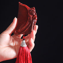 Fairy fiddle rhinoceros horn red sandalwood carving comb personal care massage comb creative wooden crafts customization fairy