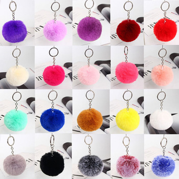 Fluffy Fur Pom Pom Keychain Soft Faux Rex Rabbit Fur Ball Car Keyring Pompom Key Chains Key holder Women Bag Pendant Jewelry plush toys dancing fluffy ball keychain soft women angel faux rabbit hair bulb 8cm fur pom pom mini doll stuffed toys kids gift