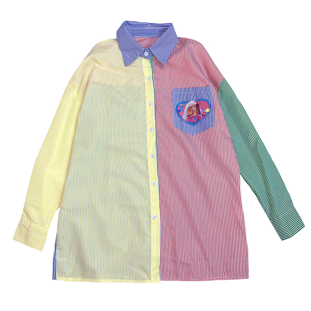 New Autumn Long-sleeved Striped Women Shirt Loose Cartoon Print BF Style Shirt Female Harajuku Sweet Hit Color Blouse Mujer 5