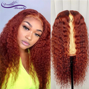 Image 1 - Ginger Orange Color Curly Lace Front Human Hair Wigs Baby Hair 13x6 Deep Part Red Brazilian Remy Hair Lace Wigs Dream Beauty
